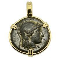 Greek 246-241 BC, Athena and Apollo bronze coin in 14k gold pendant.