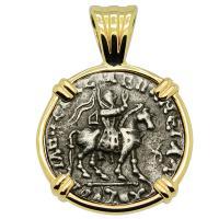 Greek 35-12 BC, King Azes II on horseback and Athena drachm in 14k gold pendant.