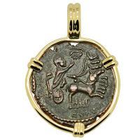 Roman AD 337-340, Constantine the Great follis in 14k gold pendant.