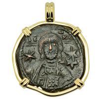 Byzantine 1071-1078, bronze follis in 14k gold pendant.