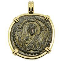 Byzantine 1068-1071, bronze follis in 14k gold pendant.