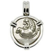 Greek 386-338 BC, lion hemidrachm in 14k white gold pendant.