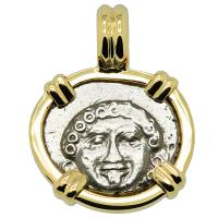 Greek 400-300 BC, Gorgon and anchor drachm in 14k gold pendant.