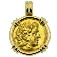 Greek 88-86 BC, Alexander the Great gold stater in 18k gold pendant.