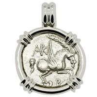 Greek 229-48 BC, Pegasus and Dionysus didrachm in 14k white gold pendant.