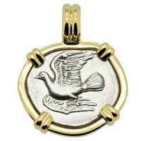Greek 330-280 BC, Dove and Chimaera triobol in 14k gold pendant.