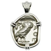 Greek 454-404 BC, Owl and Athena tetradrachm in 14k white gold pendant.