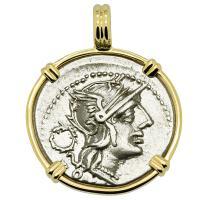 Roman Republic 128 BC, Roma and Victory chariot denarius in 14k gold pendant.
