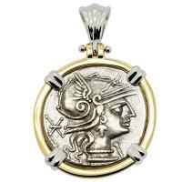 Roman Republic 133 BC, Roma and Jupiter chariot denarius in 14k white and yellow gold pendant.
