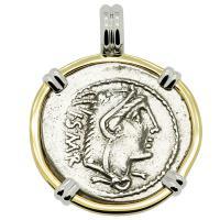 Roman Republic 105 BC, Queen Goddess Juno denarius in 14k white and yellow gold pendant.