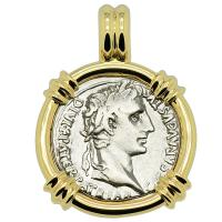 Roman Empire 2 BC - AD 4, Emperor Caesar Augustus denarius in 14k gold pendant.