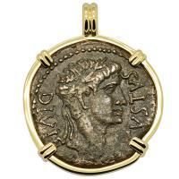 Roman Empire 10-6 BC, Emperor Caesar Augustus bronze coin in 14k gold pendant.