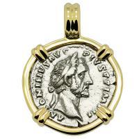 Roman Empire AD 155-156, Antoninus Pius denarius in 14k gold pendant.