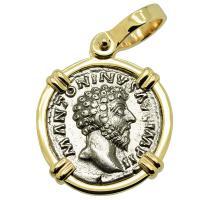 Roman Empire AD 161-163, Marcus Aurelius and Providentia denarius in 14k gold pendant.