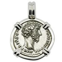 Roman Empire AD 155-156, Marcus Aurelius and Virtus denarius in 14k white gold pendant.
