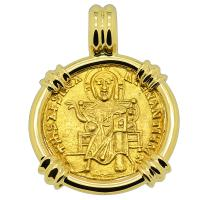 Byzantine 867-879, Jesus Christ with Basil I and Constantine Solidus in 18k gold pendant.