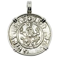 Armenia 1198-1219, King Levon the Magnificent tram in 14k white gold pendant.