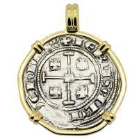 Cyprus 1285-1324, Henry II last ruling King of Jerusalem, gros grand Crusader coin in 14k gold pendant.