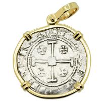 Cyprus 1324-1340, Gros Grand Crusader coin in 14k gold pendant.