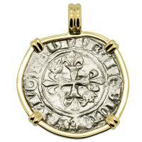French 1380-1422, King Charles VI Gros dit Florette in 14k gold pendant.
