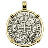 Italian King Roberto D'Angio 1309-1343, gigliato in 14k gold pendant.