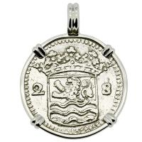 Dutch 2 stuivers dated 1730 in 14k white gold pendant.