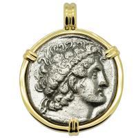 Greek-Egyptian 74-73 BC, Ptolemy 1st tetradrachm in 14k gold pendant, Mediterranean Sea shipwreck.
