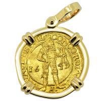 Dutch Ducat dated 1649 in 14k gold pendant.