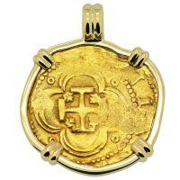 1598-1613 Spanish 4 escudos in 14k gold pendant.