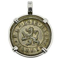 Spanish 4 maravedis dated 1618, in 14k white gold pendant.