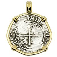 Colonial Spanish Mexico 1 real 1571-1589, in 14k gold pendant.