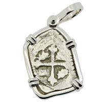 Colonial Spanish Mexico, 1700-1723, King Philip V one real in 14k white gold pendant.