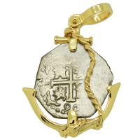 Colonial Spanish Peru, King Charles II one real dated 1690, in 14k gold anchor pendant.