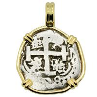 Colonial Spanish, King Philip V one real dated 1738 in 14k gold pendant.