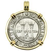 Spanish 4 reales 1543-1544 in 14k gold pendant, 1550 shipwreck Northern Caribbean Sea.