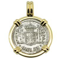 Spanish 1/2 real dated 1783 in 14k gold pendant, The 1784 Shipwreck that Changed America.