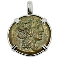 Greek 120-63 BC, God of Wine Dionysus and Cista Mystica bronze coin in 14k white gold pendant.