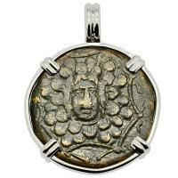 Greek 120-63 BC, Medusa and Nike bronze coin in 14k white gold pendant.