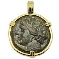 Greek Syracuse 269-240 BC, Persephone and Pegasus bronze coin in 14k gold pendant.