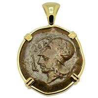 Greek 405-367 BC, Athena and Hippocamp bronze litra in 14k gold pendant.