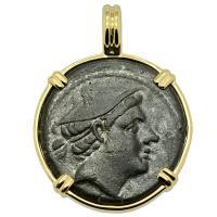 Roman 217-215 BC, Mercury and galley prow semuncia in 14k gold pendant.