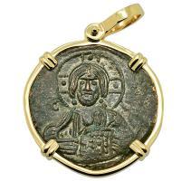 Byzantine 976-1025, bronze follis in 14k gold pendant.