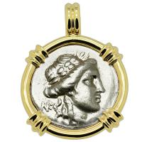 Greek 196-146 BC, Apollo and Athena drachm coin in 14k gold pendant.