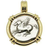 Greek 350-270 BC, Pegasus and Athena stater in 14k gold pendant.