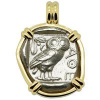 Greek 454-404 BC, Owl and Athena tetradrachm in 14k gold pendant.