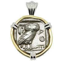 Greek 454-404 BC, Owl and Athena tetradrachm in 14k white and yellow gold pendant.