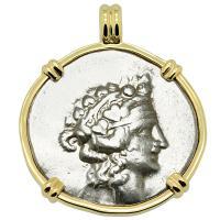 Greek 148-90 BC, Dionysus and Hercules tetradrachm in 14k gold pendant.