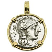 Roman Republic 136 BC, Roma and Dioscuri denarius in 14k gold pendant.
