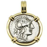 Roman Republic 128 BC, Roma and Pax chariot denarius in 14k gold pendant.