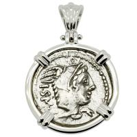 Roman Republic 105 BC, Queen Goddess Juno denarius in 14k white gold pendant.